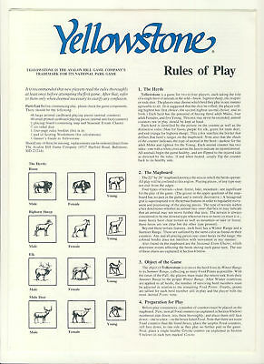Yellowstone Rules of Play Avalon Hill 4 page game rules ref100092