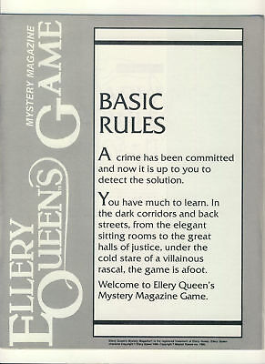 Ellery Queen's Mystery magazine Game Basic (4 pages) & Adv. Rules (8 pages) r...