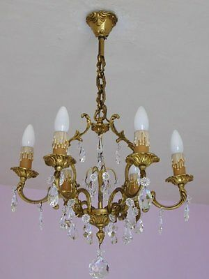 Exquisite 6 Light Vintage French Birdcage Chandelier in Crystal and Bronze