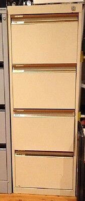Filing Cabinet, metal, beige, 4 drawer, used, with normal wear and tear and scra