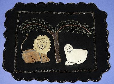 Antique Wool Hand Stitched Sampler With A Lion & Lamb Under A Tree