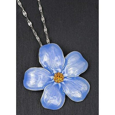 Equilibrium Forget Me Not Silver Plated Chain and Pendant, Love, Romance 69156