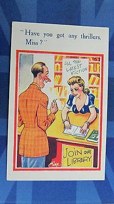 Risque Comic Postcard 1940s Large Boobs Librarian LIBRARY Thiller Books Theme