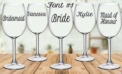 Personalised Wedding Wine/Champagne Glass Decal Sticker (each)
