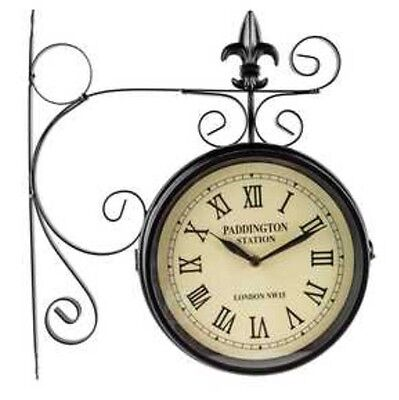 Paddington Station Railroad Wall Clock 2 Faced Double Sided Home Office Sale