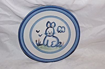 """M.a. Hadley Country Rabbit Bunny Blue 8 3/4"""" Lunch Salad Plate Louisville Potter"""