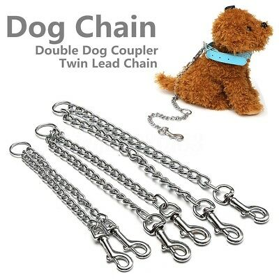 Metal Double Dog Puppy Coupler Twin Lead Chain Leash 2 Way 2 Pet Walking Safety
