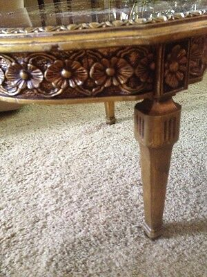 Hollywood Regency Gold Carved Coffee Table Verre Eglomise Finish