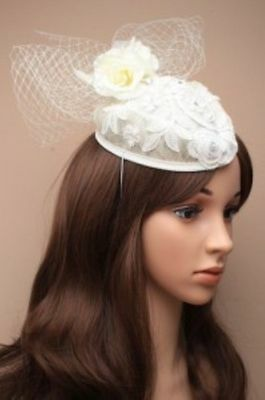 Ivory Cream And White Fascinator Hat With Elastic, Races,Ascot Wedding
