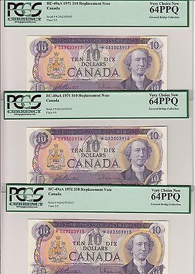 Lot of 3 Consecutive 1971 Bank of Canada $10 - PCGS Very Choice New 64 PPQ
