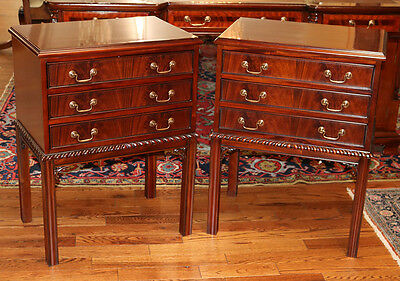 Beautiful Chinese Chippendale Flame Mahogany 3 Drawer Night Stands Tables MINT