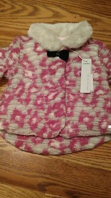 Nwt ikks baby girl jacket with faux fur collar and velvet bow 18m