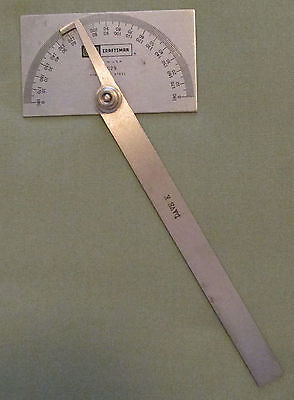 Craftsman Square Head Protractor Stainless Steel Calibrated Made in USA