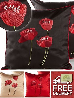 Embroidered Poppies Cushion Cover Square Scatter Case Piped Edge Black Cream Red