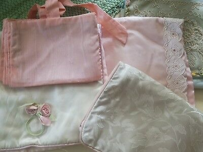 Lot of 5 vintage satin bags for jewelry or lingerie, JanCort, LeSonier