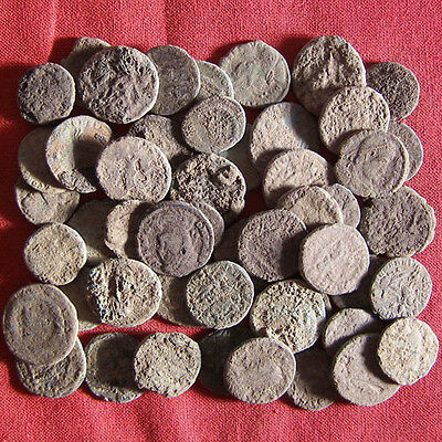Lot of 50 Uncleaned Late Roman AE3 and AE4 Coin