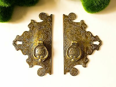 Antique English Brass Bronze Door Pull Cabinet Pull Asian Style Pair