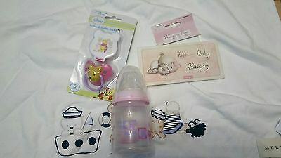 baby nuk bottle, dummy, blanket and hanging sign bundle