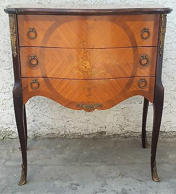 Vtg French Style Floral Inlaid Bombay Chest / Dresser / Large Nightstand LA Area