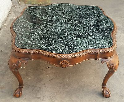 Vtg French Ornate Carved Wood Cocktail COFFEE TABLE Marble Top Chippendale Feet