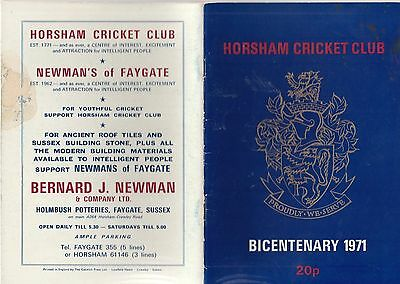 Horsham Cricket Club Bicentenary 1971