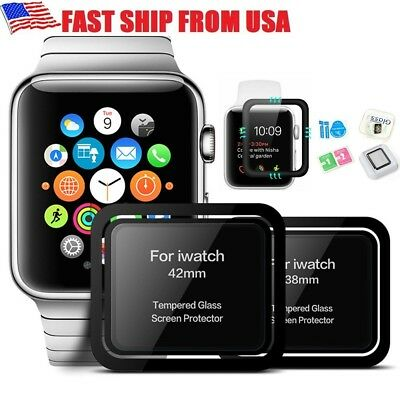 3D Full Cover Premium 9H Tempered Glass Screen Protector For Apple Watch 38&42mm