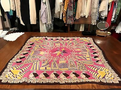 Fabulous 1930's Vintage Egyptian Scarf/Hand Screen Printed