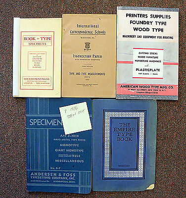 Letterpress Printing: Five Old Type Catalogs [L751]