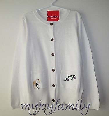 HANNA ANDERSSON Embroidered Soft Cardigan Sweater Soft White 150 12 NWT