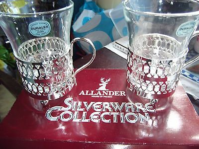 Allander Silver Plated  Holders With Glass Liners In Original Box.