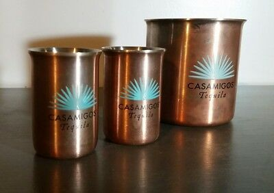 Set of 2 Casamigos Tequila Copper Shot Glasses w/ Bonus Moscow Mule Cup