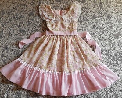 Vintage Girl Toddler Semi Sheer Lined Ruffled Frilly Dress Childrens Clothes 5 6