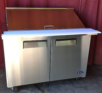 "New 48"" 2 Door Mega Sandwich Prep 18 Stainless Pans Included W Casters Free Ship"