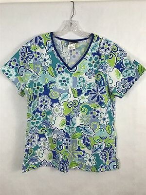 Cherokee Womens Scurb Top Size M Blue Green Floral V Neck Nice