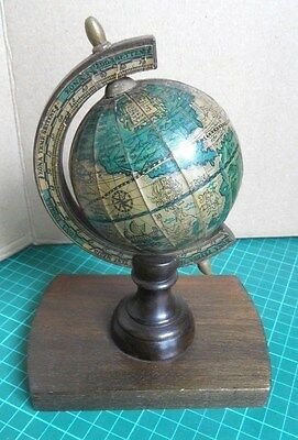Vintage/Retro Miniature 'Olde World' Globe - Solid Wooden Base