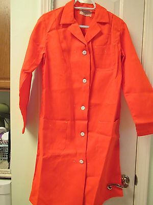 Orange unisex Medical Lab Coat, vintage, size small, perfect for Halloween