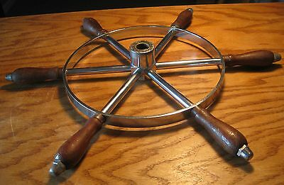 Antique vintage wood chrome ship yacht boat steering wheel, 32 inches wide, nice