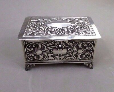 VINTAGE PORTUGUESE  SOLID SILVER HINGED FOOTED JEWEL BOX HALLMARKED 150 grams