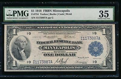 AC Fr 734 1918 $1 FRBN Minneapolis PMG 35 comment spread eagle!