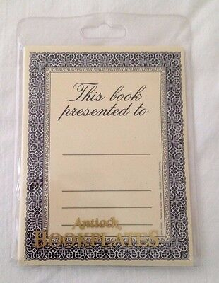 """Book Plates, """"This book presented to"""", 12 self-stick bookplates, Antioch Brand"""