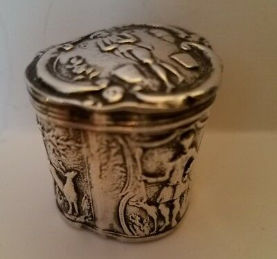 Durgin Sterling Silver Repousse, Patch, Snuff, Trinket or Pill Box