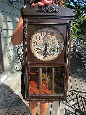 VINTAGE c1910 BORAX IS KING WALL REGULATOR ADVERTISING CLOCK STRIKES ON THE HOUR