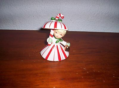 Napco  1950 Christmas Candycane Umbrella Girl Bell 1CX4403 Holding Gold Bell!