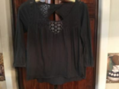 American Eagle Outfitters womens size XS shirt top blouse Black long sleeve