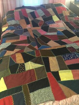 VINTAGE CRAZY PATCHWORK QUILT TOP Hand Stitched Embroidery