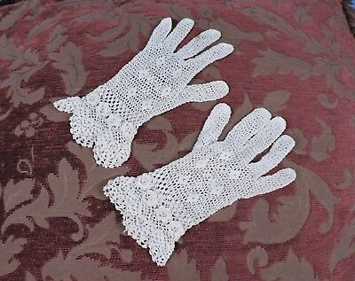 Antique Irish Crochet Lace Gloves For Dress