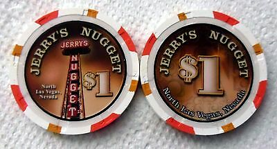 JERRYS NUGGET Casino North Las Vegas $1 Poker CHIP ~ UNCIRCULATED
