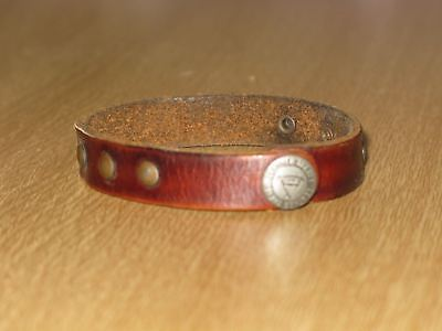 Vintage Leather Treaty Studded Wrist Band Snap Bracelet