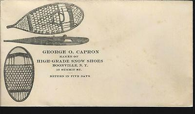 Snowshoe Maker George O. Capron Illustrated c1910 Boonville NY Envelope Cover