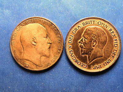 Great Britain 1907 Edward VII & 1928 George V Pennies